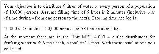 Casella di testo: Your objective is to distribute 6 litres of water to every person of a population of 10,000 persons. Assume filling time of 6 litres is 2 minutes (inclusive loss of time during - from one person to the next). Tapping time needed is: 